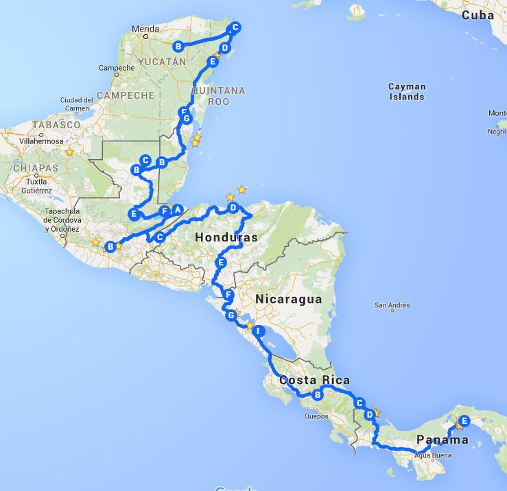 Central America Trip   Google Maps
